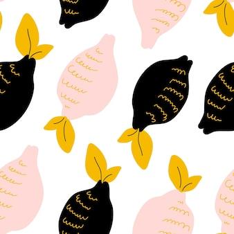 Padrão sem emenda abstrato com coleção de frutas cítricas: limão. mão desenhar pano de fundo sobreposto, textura. modelo de vetor de papel de parede colorido, plano de fundo para cartões, banners, tecido de impressão, t-shirt.