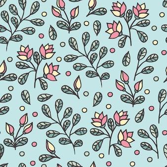 Padrão sem emenda abstrato com contornos de flores bonitas em um azul