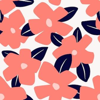 Padrão sem emenda abstrato com folhas tropicais e flores desenhadas à mão