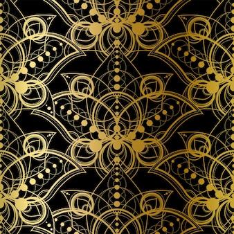 Padrão sem emenda abstrato com impressão dourada sobre fundo preto. ornamento geométrico dourado, modelo de moda têxtil decoração luxuosa em estilo vintage