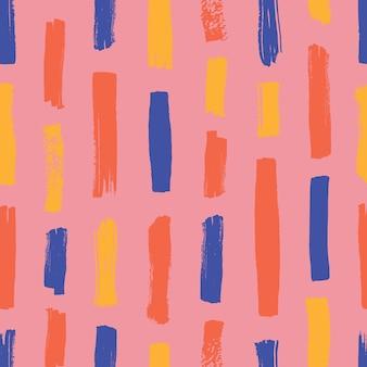 Padrão sem emenda abstrato com listras verticais coloridas em fundo rosa