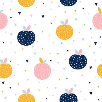 Padrão sem emenda abstrato com maçãs coloridas