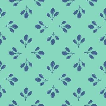 Padrão sem emenda abstrato com ornamento de folha azul. fundo brilhante turquesa.