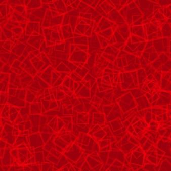 Padrão sem emenda abstrato de contornos de quadrados dispostos aleatoriamente em cores vermelhas