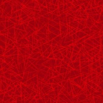 Padrão sem emenda abstrato de contornos dispostos aleatoriamente de triângulos em cores vermelhas