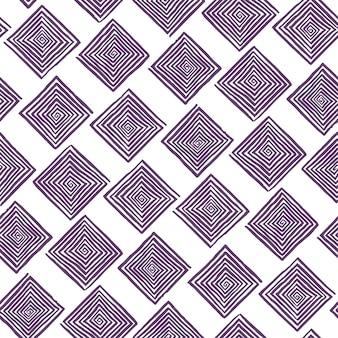 Padrão sem emenda abstrato de espirais quadradas roxas desenhadas à mão em um fundo branco