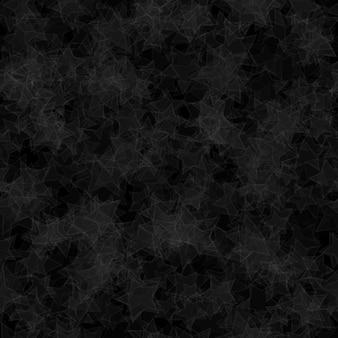 Padrão sem emenda abstrato de estrelas translúcidas distribuídas aleatoriamente nas cores preto e cinza