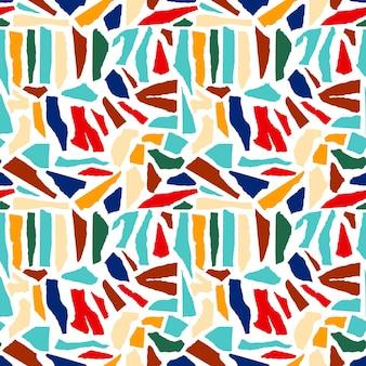 Padrão sem emenda abstrato de papel rasgado. formas geométricas, fundo brilhante textura rasgada. repita a impressão gráfica da colagem com papel recortado de formas modernas. ilustração em vetor colagem estilo.