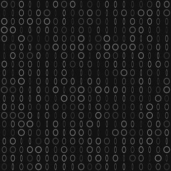 Padrão sem emenda abstrato de pequenos anéis ou pixels em vários tamanhos nas cores cinza e preto