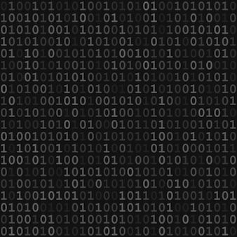 Padrão sem emenda abstrato de pequenos dígitos um e zero nas cores cinza e preto
