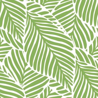Padrão sem emenda abstrato folha verde brilhante. planta exótica. padrão tropical, folhas de palmeira de fundo floral vetor sem emenda.