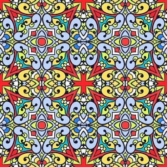 Padrão sem emenda abstrato. fundo bonito do mosaico do vetor. design colorido. ornamento decorativo de caleidoscópio. ideal para azulejos, papel de embrulho, têxteis, tecido, capa. textura vintage