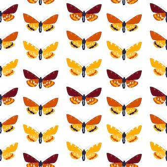 Padrão sem emenda abstrato mão desenhada borboleta. ilustração