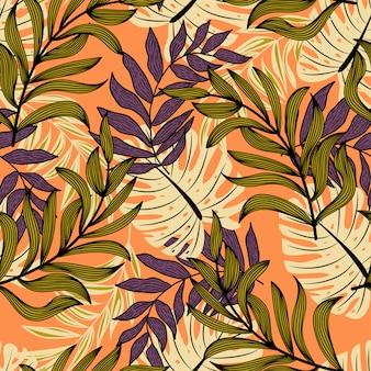 Padrão sem emenda abstrato original com folhas tropicais coloridas e plantas em fundo amarelo