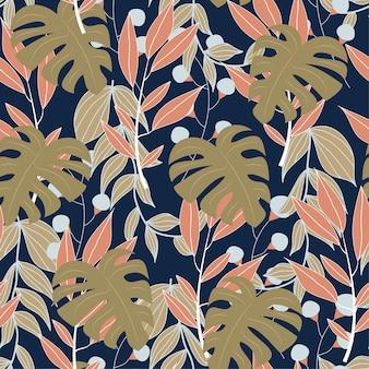 Padrão sem emenda abstrato original com folhas tropicais coloridas e plantas em fundo azul