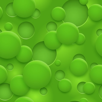 Padrão sem emenda abstrato ou plano de fundo de buracos e círculos com sombras em cores verdes