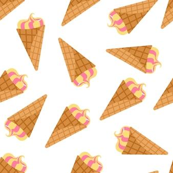 Padrão sem emenda aleatório isolado com sorvete no fundo branco
