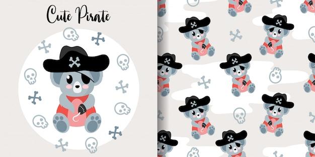 Padrão sem emenda animal bonito do koala pirata com cartão do bebê