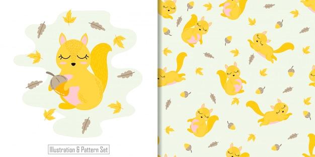 Padrão sem emenda animal bonito esquilo com conjunto de cartão de ilustração de mão desenhada
