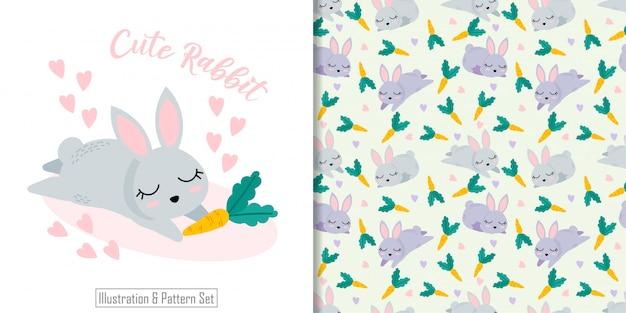 Padrão sem emenda animal coelho bonito com conjunto de cartão de ilustração de mão desenhada