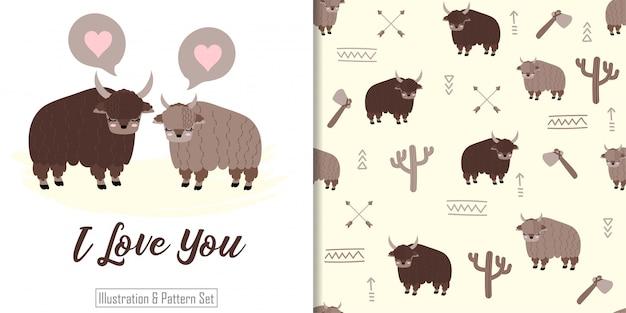 Padrão sem emenda animal de iaque bonito com conjunto de cartão de ilustração de mão desenhada