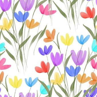 Padrão sem emenda aquarela colorida floral e folha