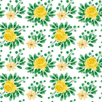 Padrão sem emenda aquarela floral amarelo