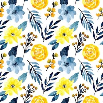 Padrão sem emenda aquarela floral azul e amarelo