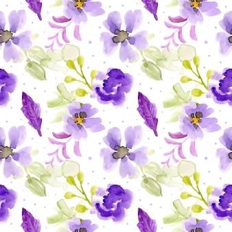 Padrão sem emenda aquarela floral roxo
