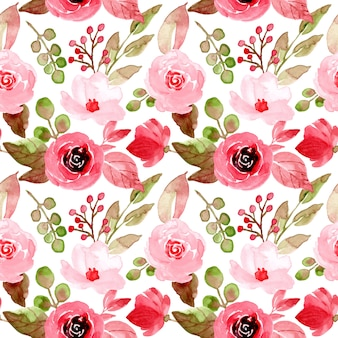 Padrão sem emenda aquarela floral vermelho