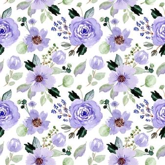 Padrão sem emenda aquarela floral violeta