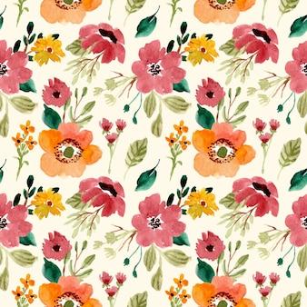 Padrão sem emenda aquarela jardim floral