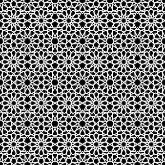 Padrão sem emenda árabe na cor preto e branco.