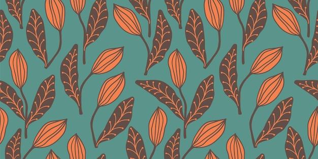 Padrão sem emenda artístico com folhas abstratas. design moderno