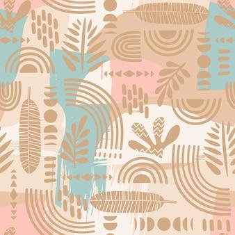 Padrão sem emenda artístico com folhas abstratas e formas geométricas.