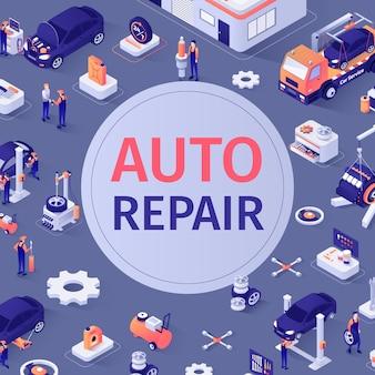 Padrão sem emenda automotivo com texto de reparação automóvel