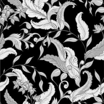 Padrão sem emenda barroco desenhado de mão vintage
