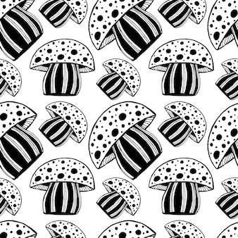 Padrão sem emenda bonito com o cogumelo desenhado à mão do monocromático. ilustração gráfica amanita de mosaico psicodélico brilhante.