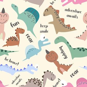 Padrão sem emenda bonito de dinossauro para a moda bebê