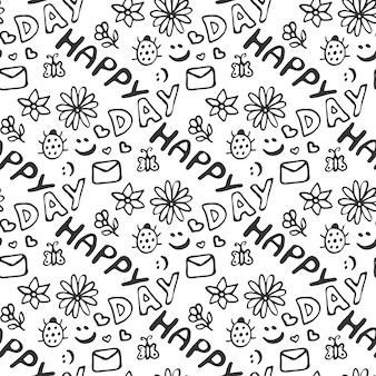 Padrão sem emenda bonito doodle com corações, flores, joaninha, sorrisos, borboleta e carta