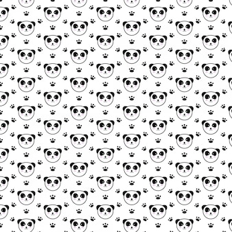 Padrão sem emenda bonito panda feliz