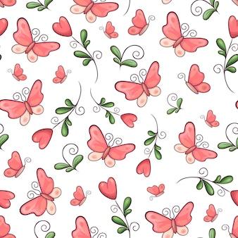 Padrão sem emenda borboletas e flores. desenho à mão. ilustração vetorial