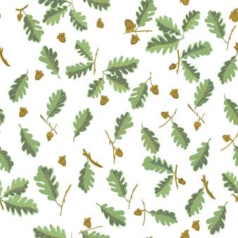 Padrão sem emenda botânica de folhas de carvalho