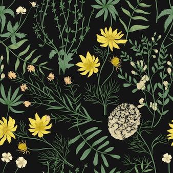 Padrão sem emenda botânico com belas flores desabrochando silvestres em fundo preto.