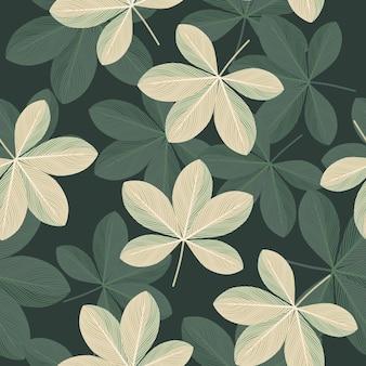 Padrão sem emenda botânico com elementos de flores desenhadas de doodle