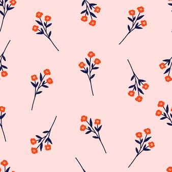 Padrão sem emenda botânico com flores sobre fundo rosa pastel. folhas e papéis de parede de flores. fundo floral.