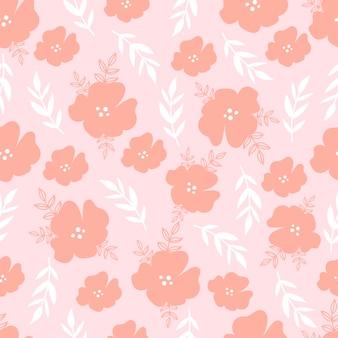 Padrão sem emenda botânico com flores sobre fundo rosa pastel. folhas e papéis de parede de flores.
