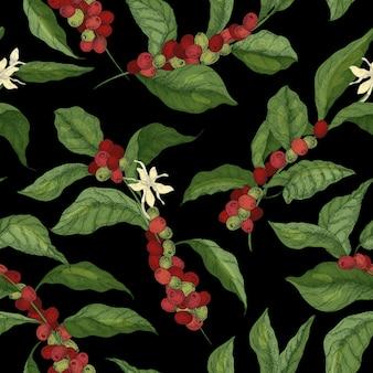 Padrão sem emenda botânico com galhos de árvores coffea ou café, flores, folhas e frutos maduros ou bagas em fundo preto.