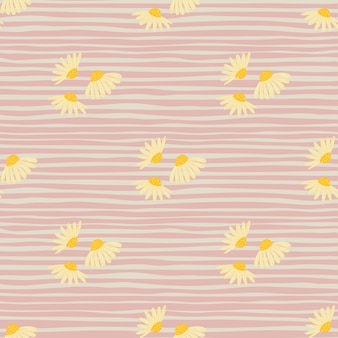 Padrão sem emenda botânico de verão com formas simples de flores de camomila amarela