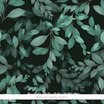 Padrão sem emenda botânico em aquarela